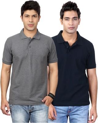 Top Notch Solid Men's Polo Neck Grey, Blue T-Shirt