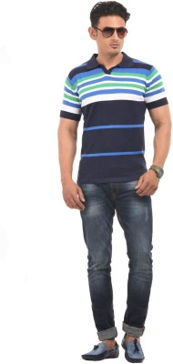 AMX Striped Men's Polo Neck Blue T-Shirt