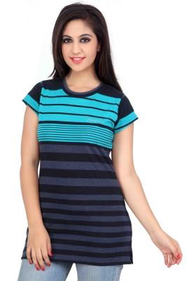 Prova Striped Women's Round Neck Dark Blue T-Shirt