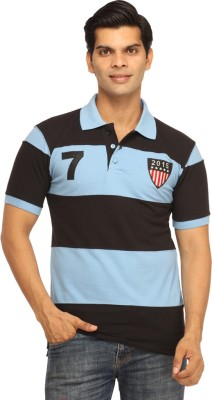 Rockhard Striped Men's Polo Neck Light Blue T-Shirt