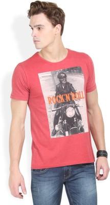 HW Printed Men,s Round Neck Red T-Shirt