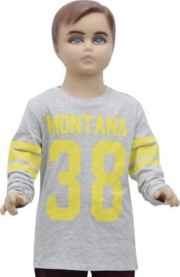 Urban Forest Graphic Print Boy's Round Neck Grey T-Shirt
