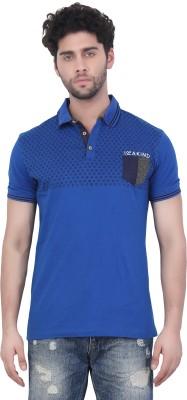 Purple Haze Floral Print Men's Polo Neck Blue T-Shirt