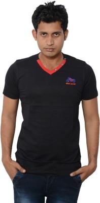 Lampara Solid Men's V-neck Black T-Shirt