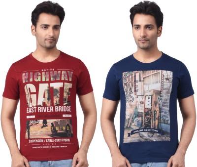 Motiv8Jeans Graphic Print Men's Round Neck Reversible Multicolor T-Shirt