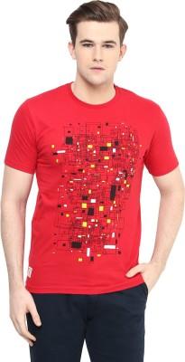Ziera Printed Men's Round Neck Red T-Shirt