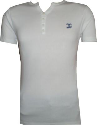 Tick Lish Solid Men's V-neck White T-Shirt