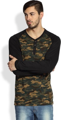 Difference of Opinion Military Camouflage Men's Round Neck Green T-Shirt
