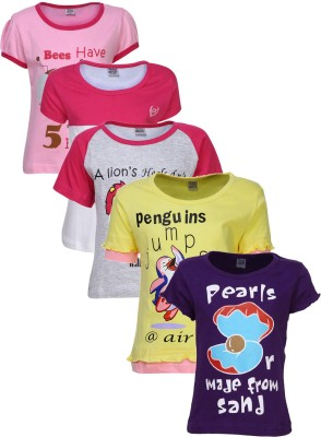 Gkidz Printed Girl's Round Neck Multicolor T-Shirt