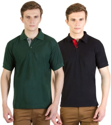 100Tees Solid Men's Polo Neck Black, Green T-Shirt