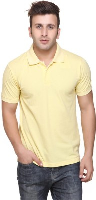 Burdy Solid Men's Polo Neck Yellow T-Shirt