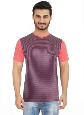 Hoodz Striped Men's V-neck Pink T-Shirt
