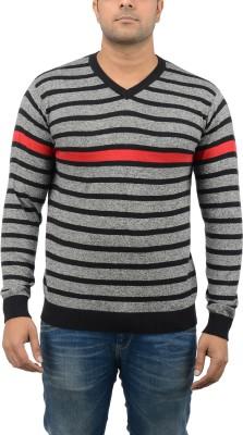Blue Heaven Striped Men's V-neck Grey, Black T-Shirt