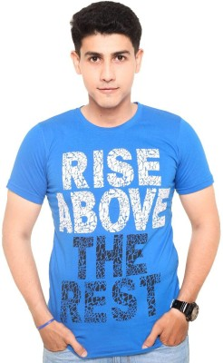 Zwizdot Printed Men,s Round Neck Blue T-Shirt