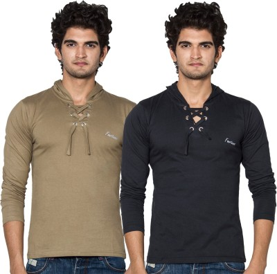 Amp Colors Solid Men's Hooded Black, Gold T-Shirt