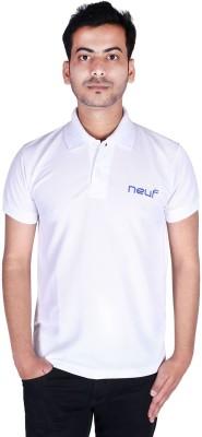 neuf Solid Men's Polo Neck White T-Shirt