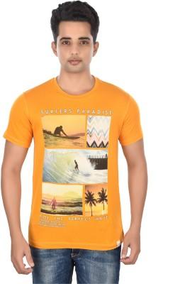 Rockstar Jeans Graphic Print Men's Round Neck Yellow T-Shirt