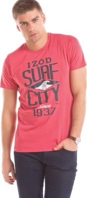 Izod Solid Men's Round Neck Pink T-Shirt