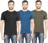 Poshuis Solid Men's Henley Black, Blue, ...