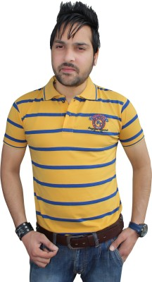 F91 Striped Men's Polo Neck T-Shirt