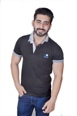 Strak Printed Men's Polo Neck Black T-Shirt