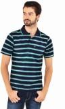 YOO Striped Men's Polo Neck Green T-Shir...