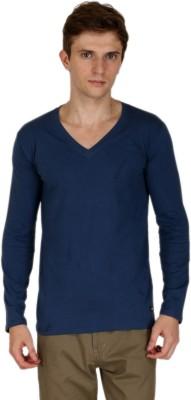 Blimey Solid Men's V-neck Blue T-Shirt