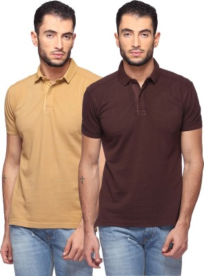 GOAT Solid Men's Polo Neck Beige, Brown T-Shirt