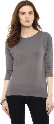 Hypernation Solid Women's Round Neck Grey T-Shirt