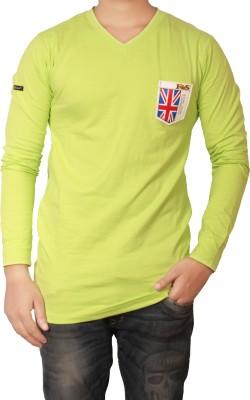 The Desi Attire Solid Men,s V-neck Light Green T-Shirt