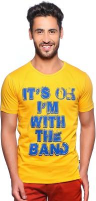 Nucode Graphic Print Men's Round Neck Yellow T-Shirt