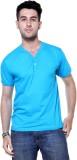 Ashdan Solid Men's Henley Blue T-Shirt