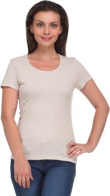 V2k Fashion Striped Women's Round Neck T-Shirt