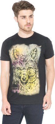 Status Quo Printed Men's Round Neck Black T-Shirt