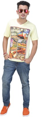 AFLASH Printed Men's V-neck Yellow T-Shirt