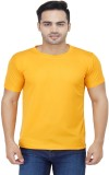 Friskers Solid Men's Round Neck Yellow T...