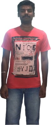 YDA Printed Men's Round Neck Red T-Shirt