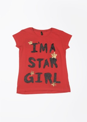 UCB Printed Girl's Round Neck Red T-Shirt