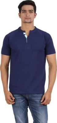 Anytime Solid Men's V-neck Dark Blue T-Shirt