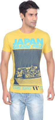 Stoke Graphic Print Men's Round Neck Yellow T-Shirt