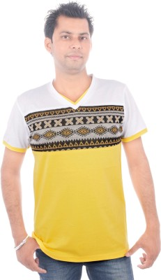 All Ruggby Printed Men's V-neck White T-Shirt