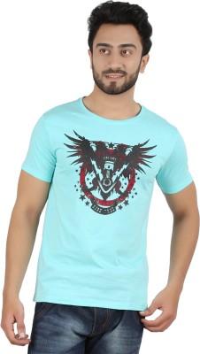 Hoodz Printed Men's Round Neck Light Blue T-Shirt
