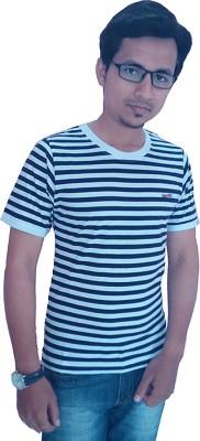 Wankies Striped Men,s, Boy's Round Neck White, Dark Blue T-Shirt