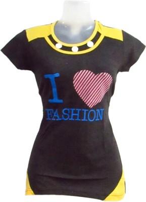 Revinfashions Printed Women's Round Neck Black T-Shirt