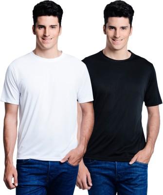 Superjoy Solid Men's Round Neck White, Black T-Shirt