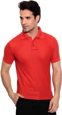 Davie Jones Solid Men's Polo Neck Red T-Shirt