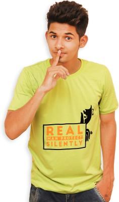Guts N Glory Graphic Print Men's Round Neck Light Green T-Shirt
