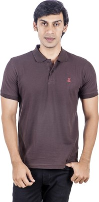X-Tint Solid Men's Polo Neck Brown T-Shirt