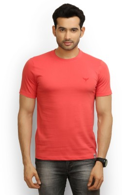 Police Solid Men's Round Neck Red T-Shirt
