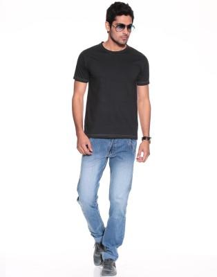 Purys Solid Men,s Round Neck Black T-Shirt
